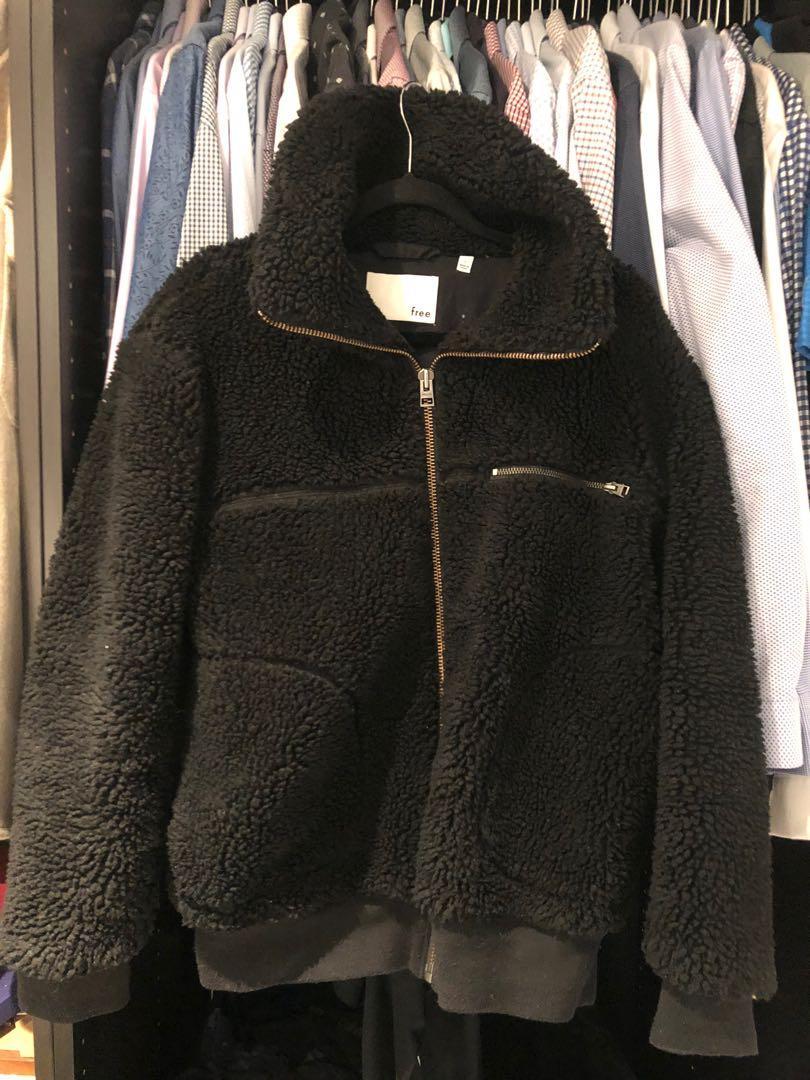 Aritzia Wilfred free teddy bomber Sherpa jacket BLACK size 1