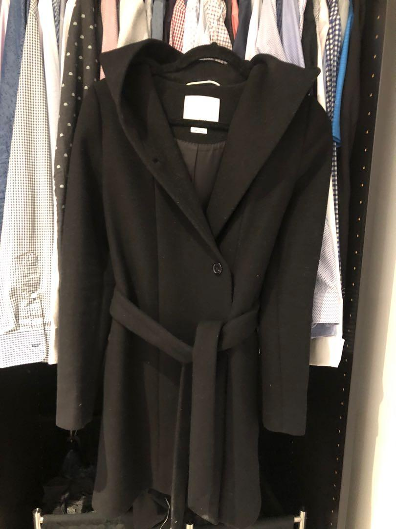 Aritzia Wilfred robe wool coat with belt BLACK size XSMALL