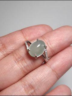 天然翡翠A貨S925銀蛋面戒指,可自由調整指圍