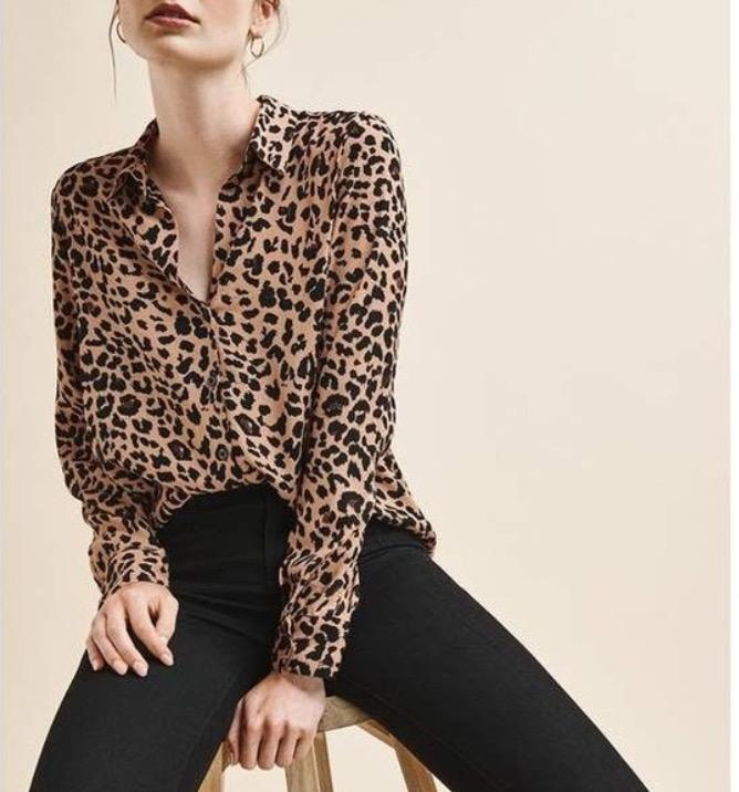 cheetah print button up blouse/top