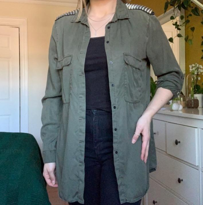green button up shirt with studs