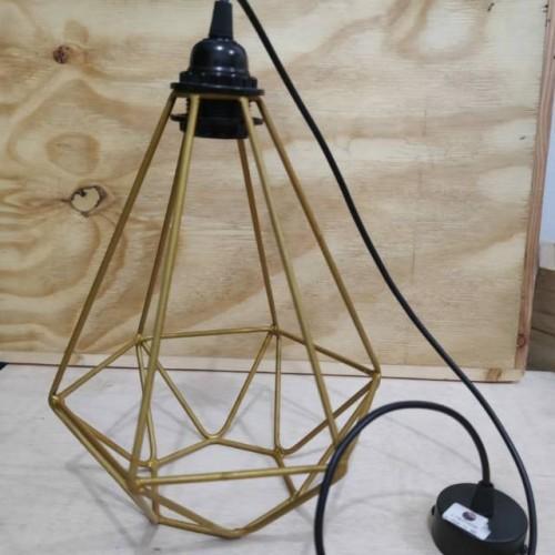 HIASAN LAMPU GANTUNG WEEDING PAKET FITTING - Kap lampu gantung diamond gold - kap lampu custo