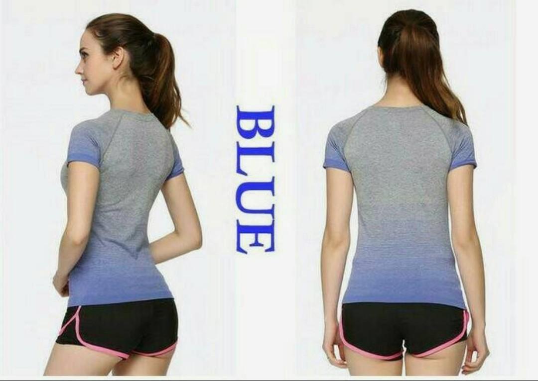 kaos tshirt sport biru L anti bacterial