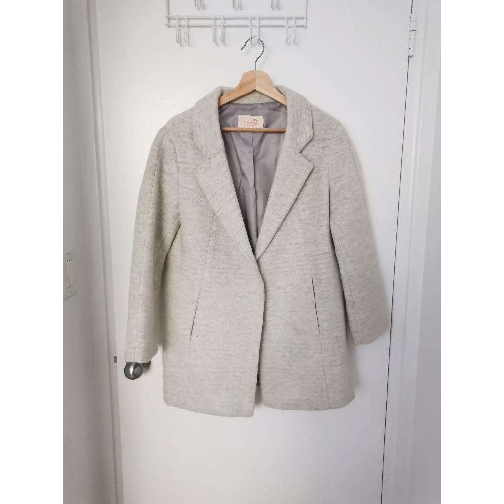 Korean Mind Bridge 92% Wool Coat in Light Grey Size XS/S