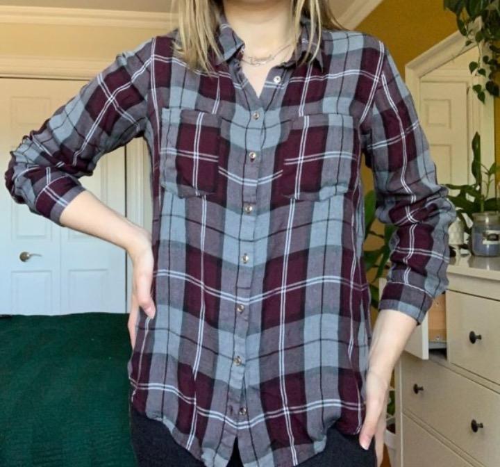 plaid button up blouse/top