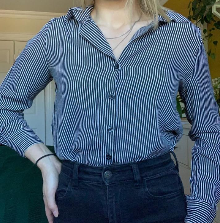 striped button up blouse/top