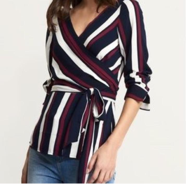 striped wrap belted blouse