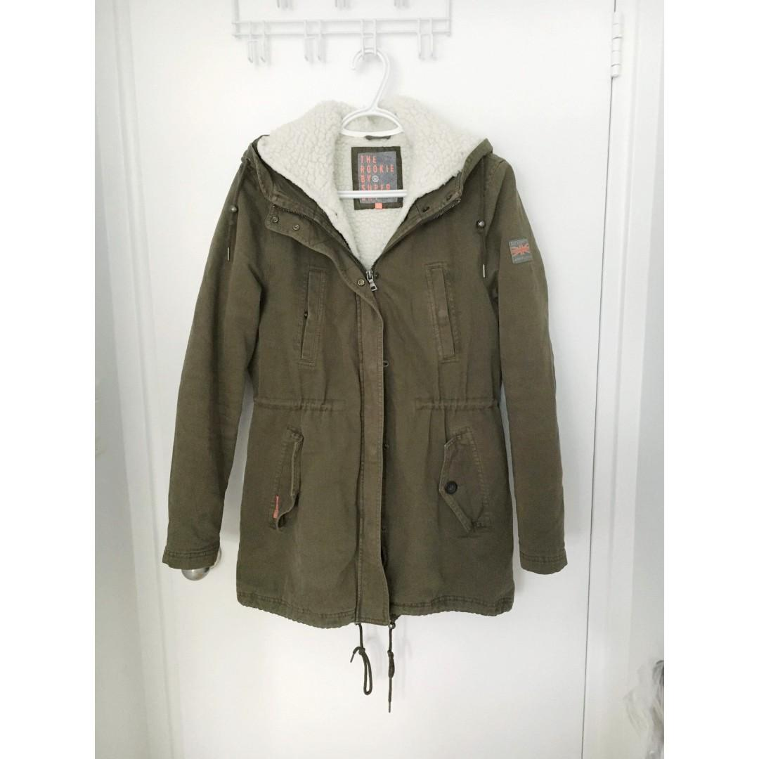 Superdry Military Double Layers Winter Jacket/Coat in Military Green Size XS/S