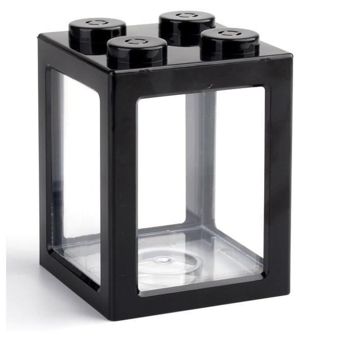 TOPINCN Aquarium Mini Lego Block 4 Side Windows 8x8x11cm with USB Light - TOP3