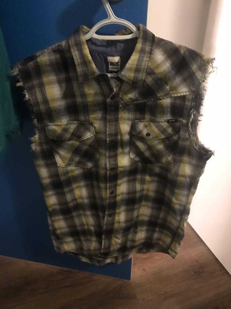 Volcom medium flannel with sleeves cut off