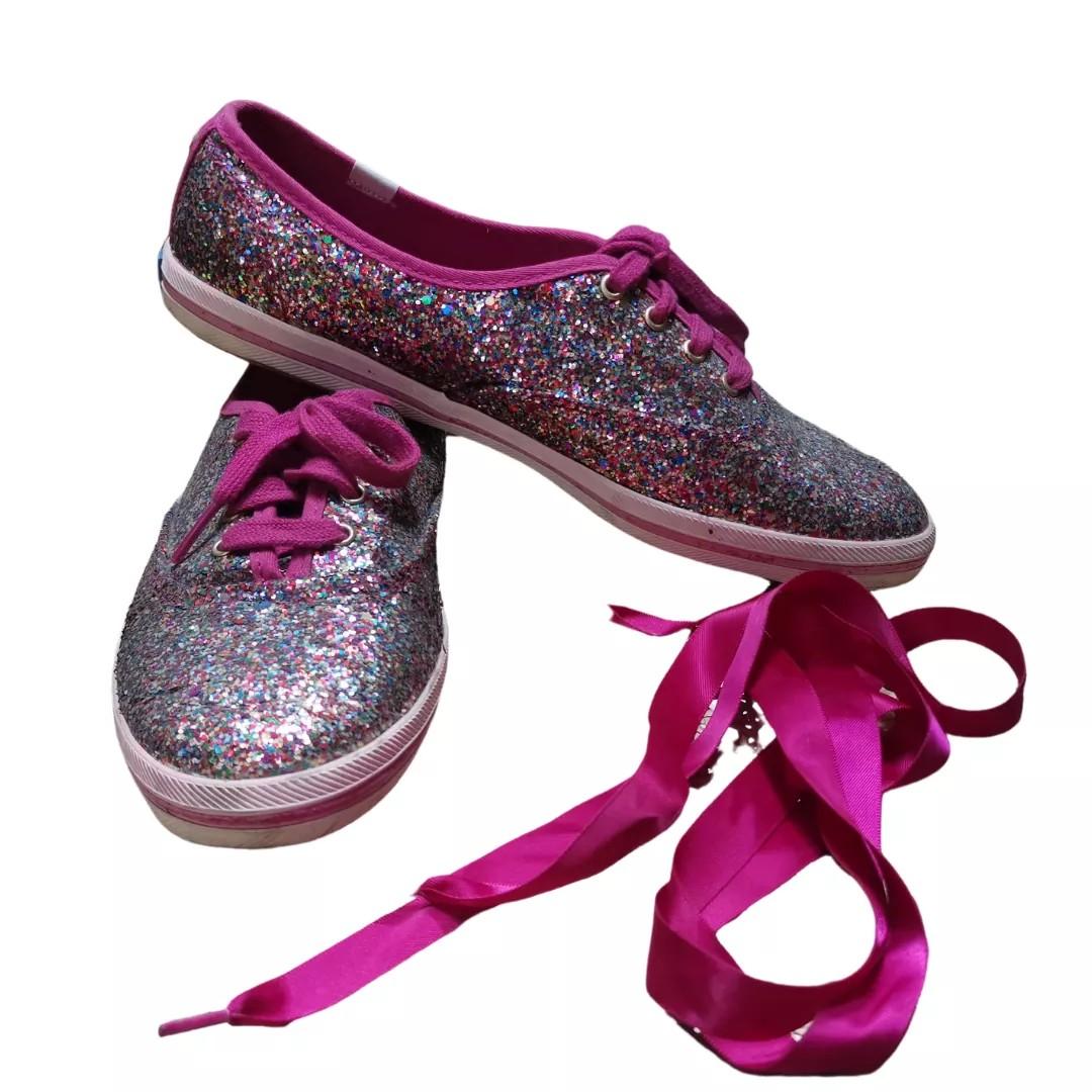 Womens Pink Glitter Sneakers, Women's