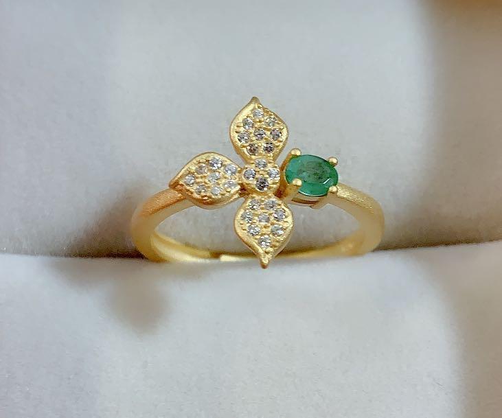 天然祖母綠銀鍍24k戒指