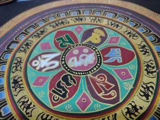六字大明咒唐卡六字真言咒輪壇城手繪黑金唐卡未錶框正方形含邊長26×26cm十多年前帶回的天然礦物顏料唐卡保存狀況良好A1