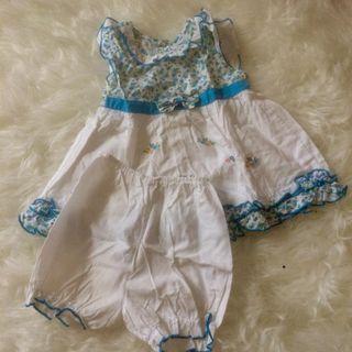 Baju setelan bayi anak bunga biru
