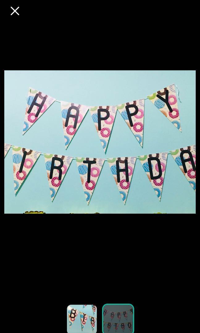 Banner happy birthday ultah donat