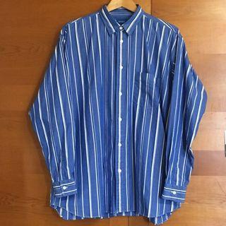 Beams 寬鬆條紋長袖襯衫 (M)