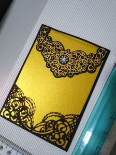 Handmade invitation cover black and gold