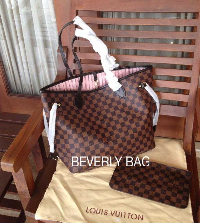 Jual Tas Bag Lv Neverfull LEATHER MIRROR QUALITY - Damier Pink