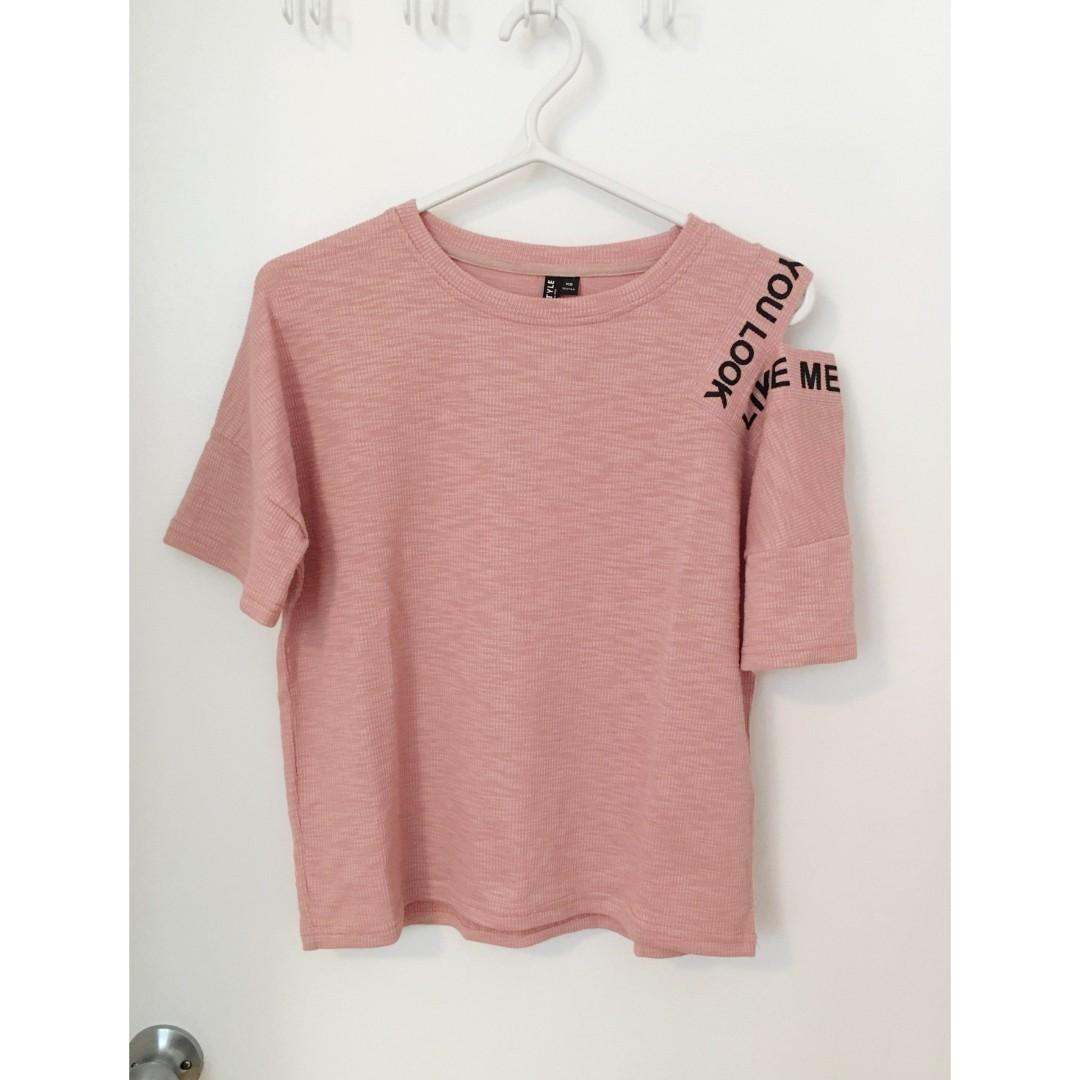 NWOT Korean Style T-shirt in Nude Pink Size XS/S