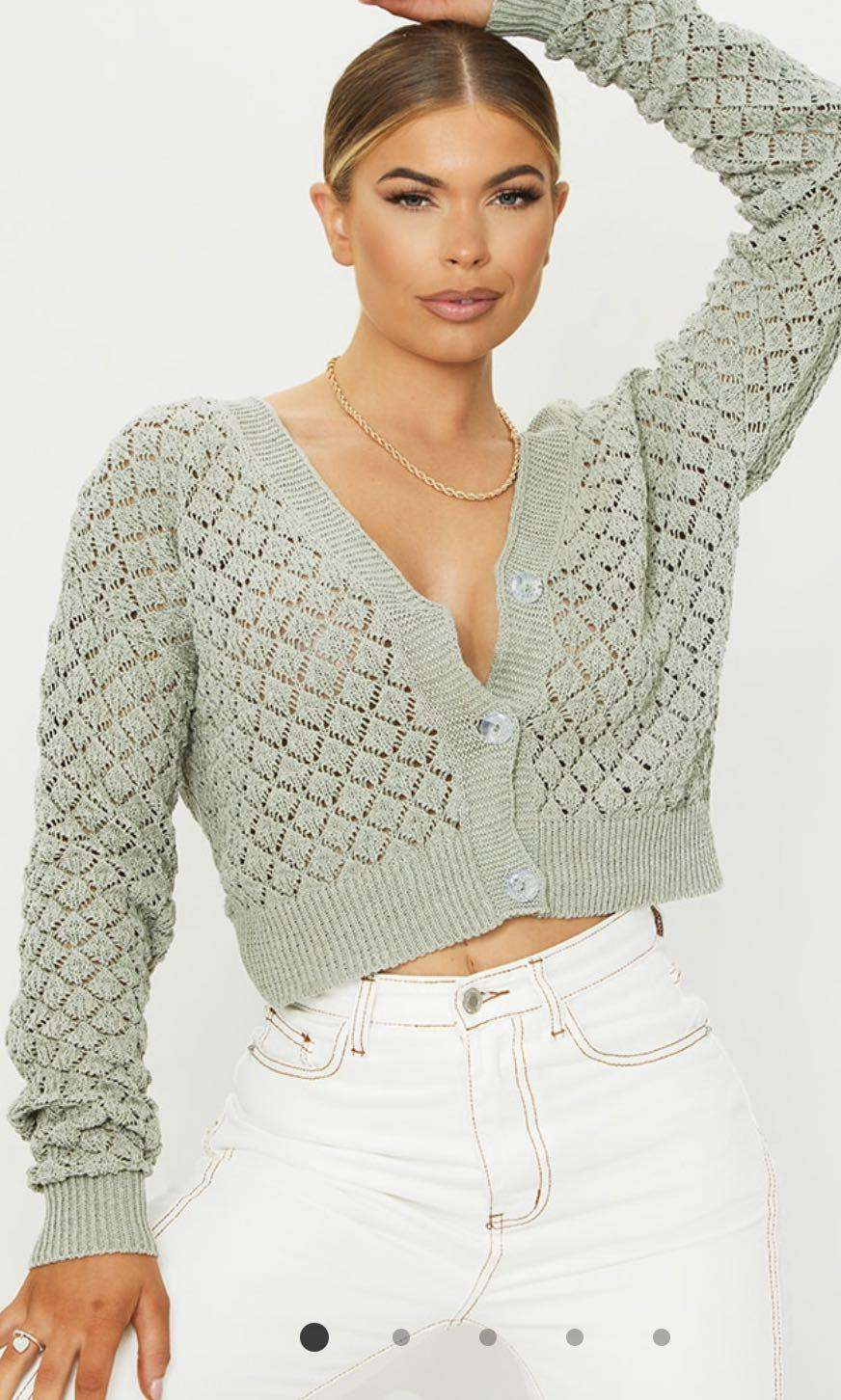 Pretty Little Thing - sage green pointelle detail button up cardigan