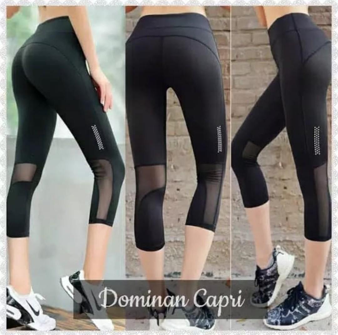 sport legging 3/4 hitam