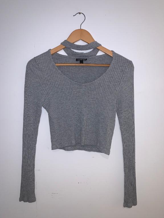 Topshop Choker Grey Top (Size 8)