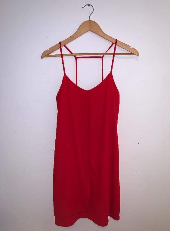 Topshop Red Dress Spaghetti Strap Shift Dress (size 6)