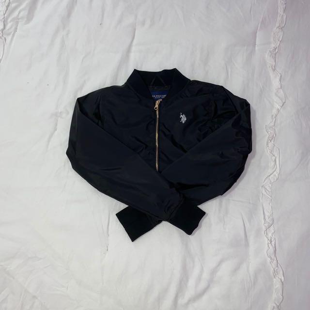 u.s. polo assin black bomber jacket