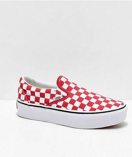 low top vans red checkered