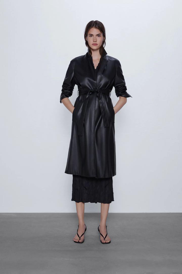 Zara faux leather trench coat
