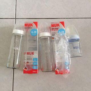 二手 3個合售 NUK 輕寬口玻璃奶瓶 240ml 6-18M 寬口玻璃奶瓶 120ml