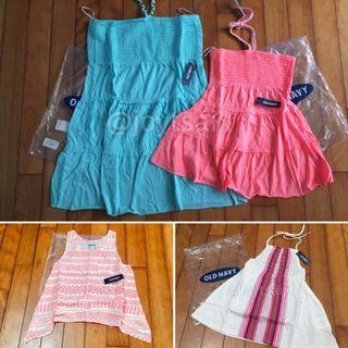 全新 4件合售 Old Navy 親子裝 6-7歲女童夏裝無袖背心繞頸上衣 平口短洋裝(親子裝)