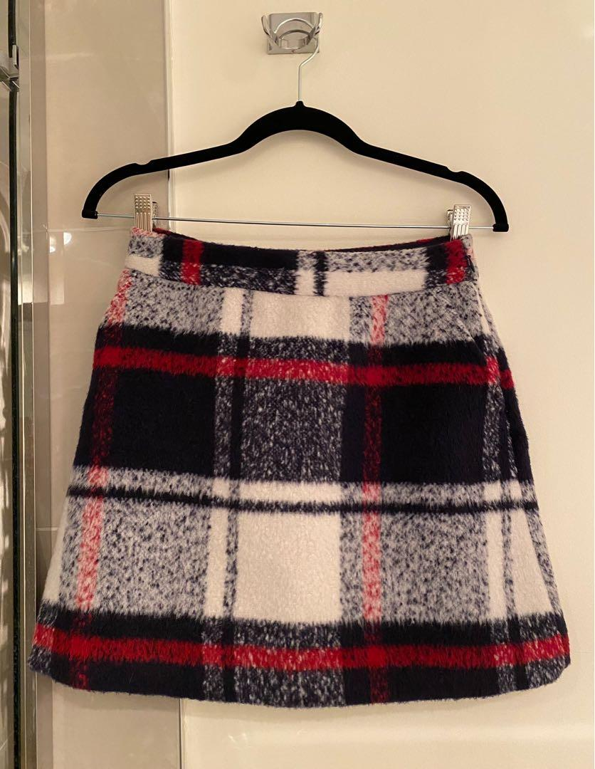 Abercrombie & Fitch Wool Knit Plaid Skirt