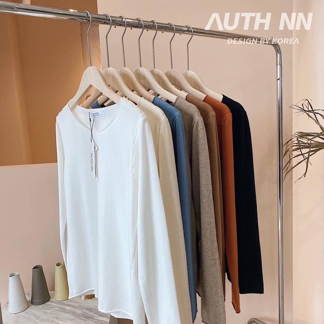 ❤️韓國🇰🇷代購—韓國Auth.nn百搭圓領捲邊純色羊絨針織上衣