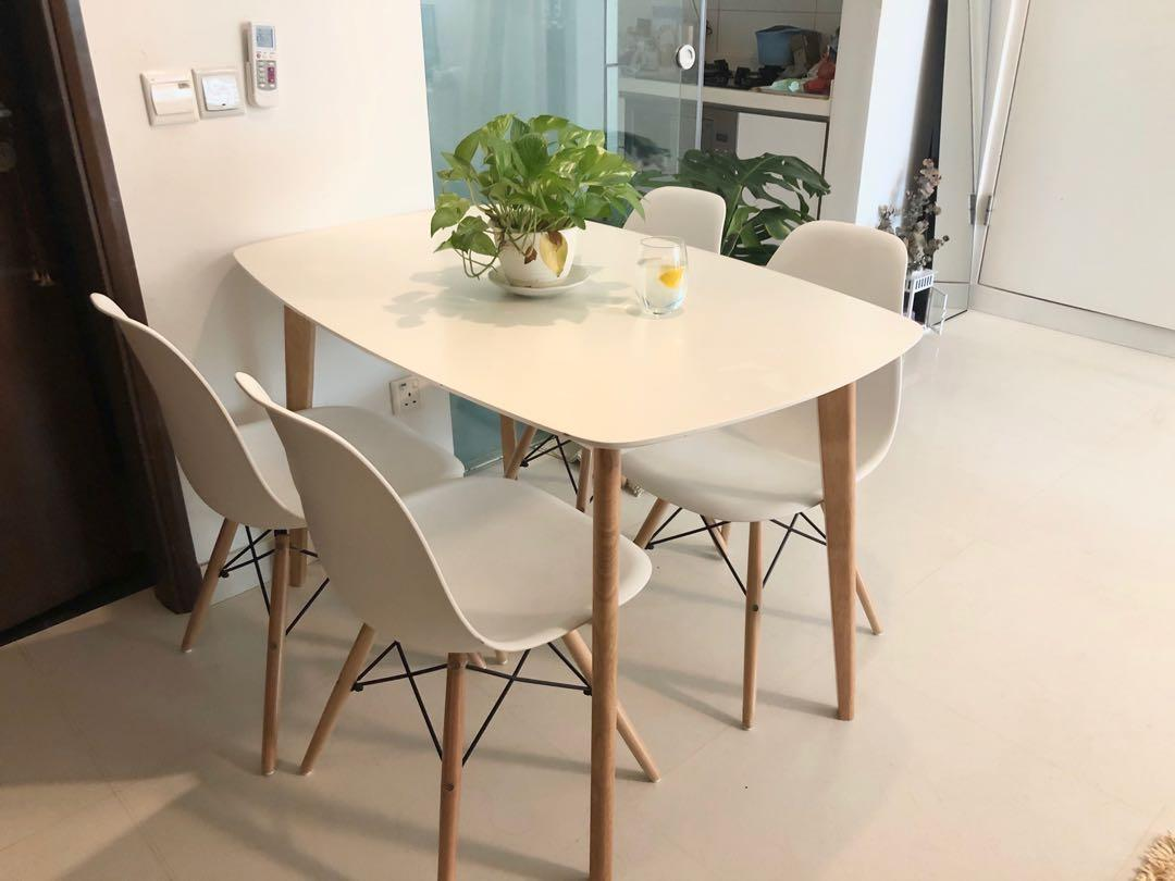 Beautiful White Dining Set Furniture Tables Chairs On Carousell
