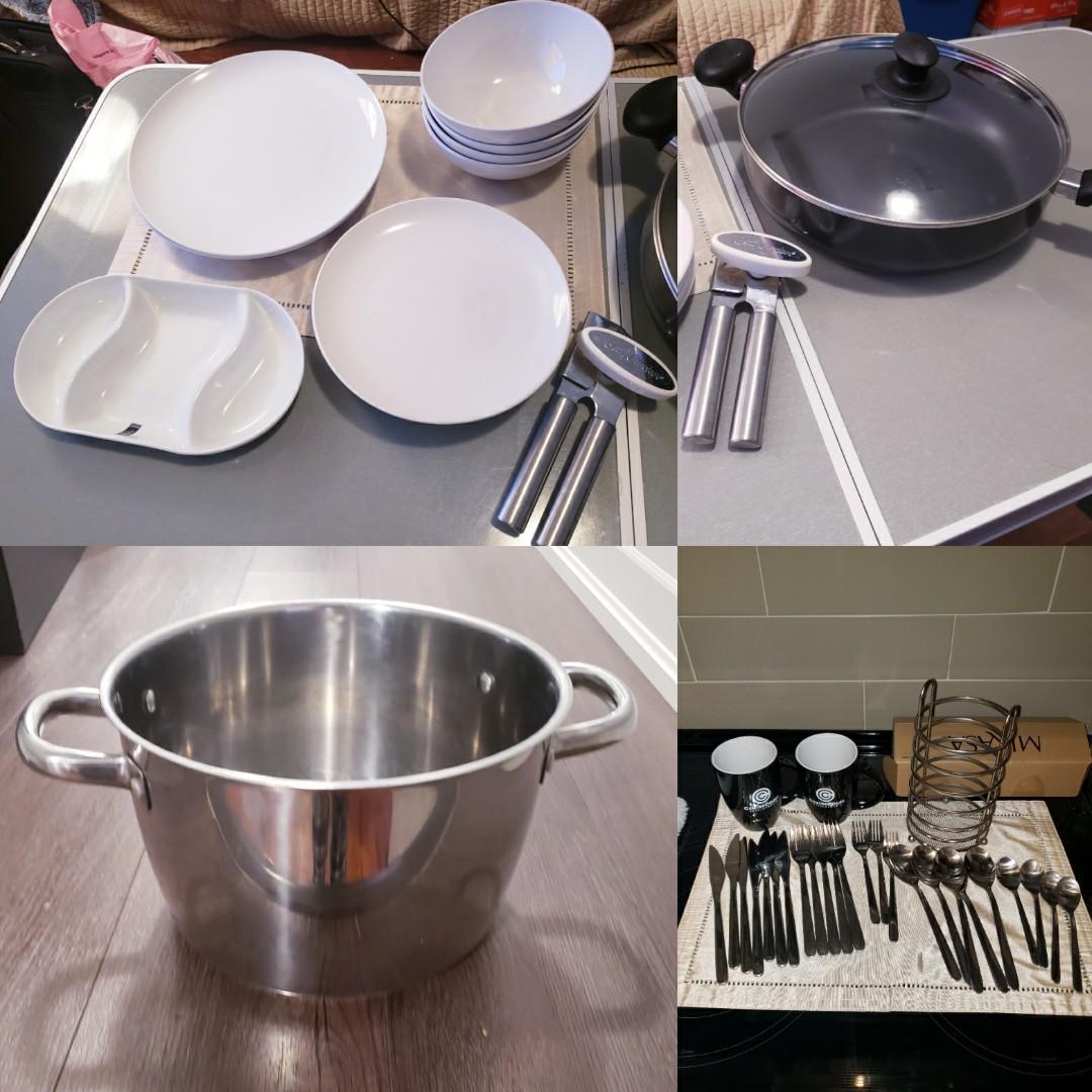 DINNERWARE, POTS, CUTLERY Bundle