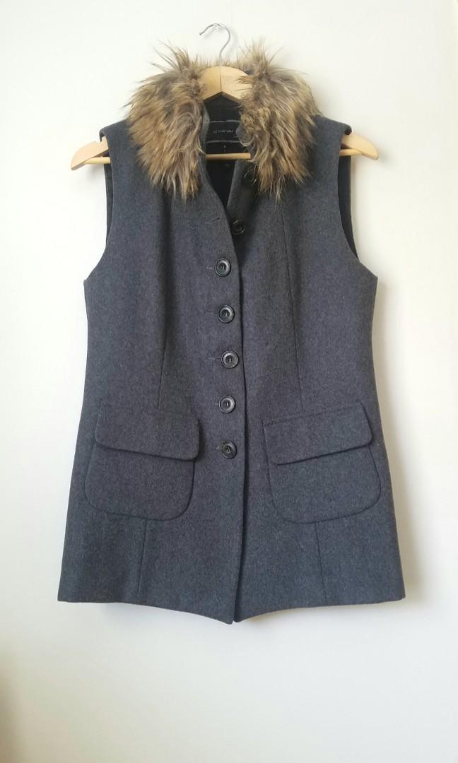 Grey Wool Vest Jacket with Fur