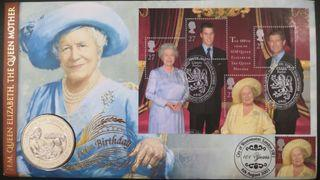 HM Queen Elizabeth The Queen Mother's 100th Birthday £5 Coin Cover