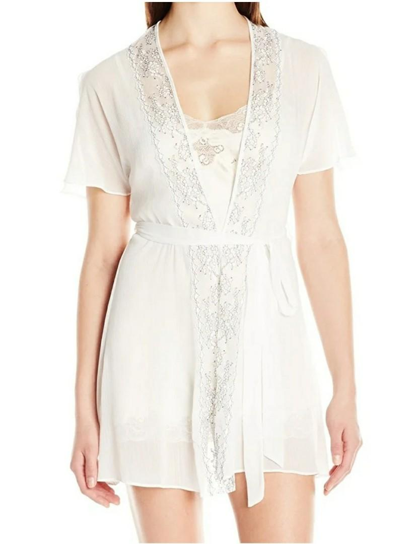 In Bloom by Jonquil Lace Trim Sheer Robe - Size S