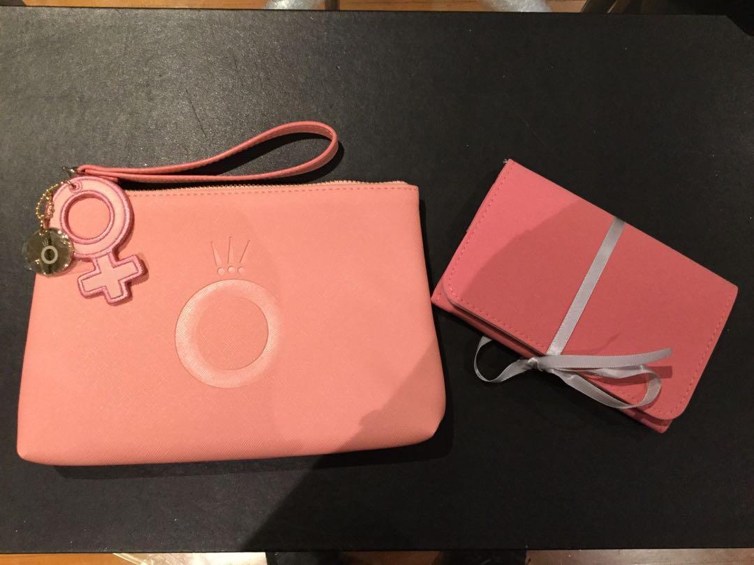 Pandora Coral Pink Wristlet and Pandora Me Collector's Pouch