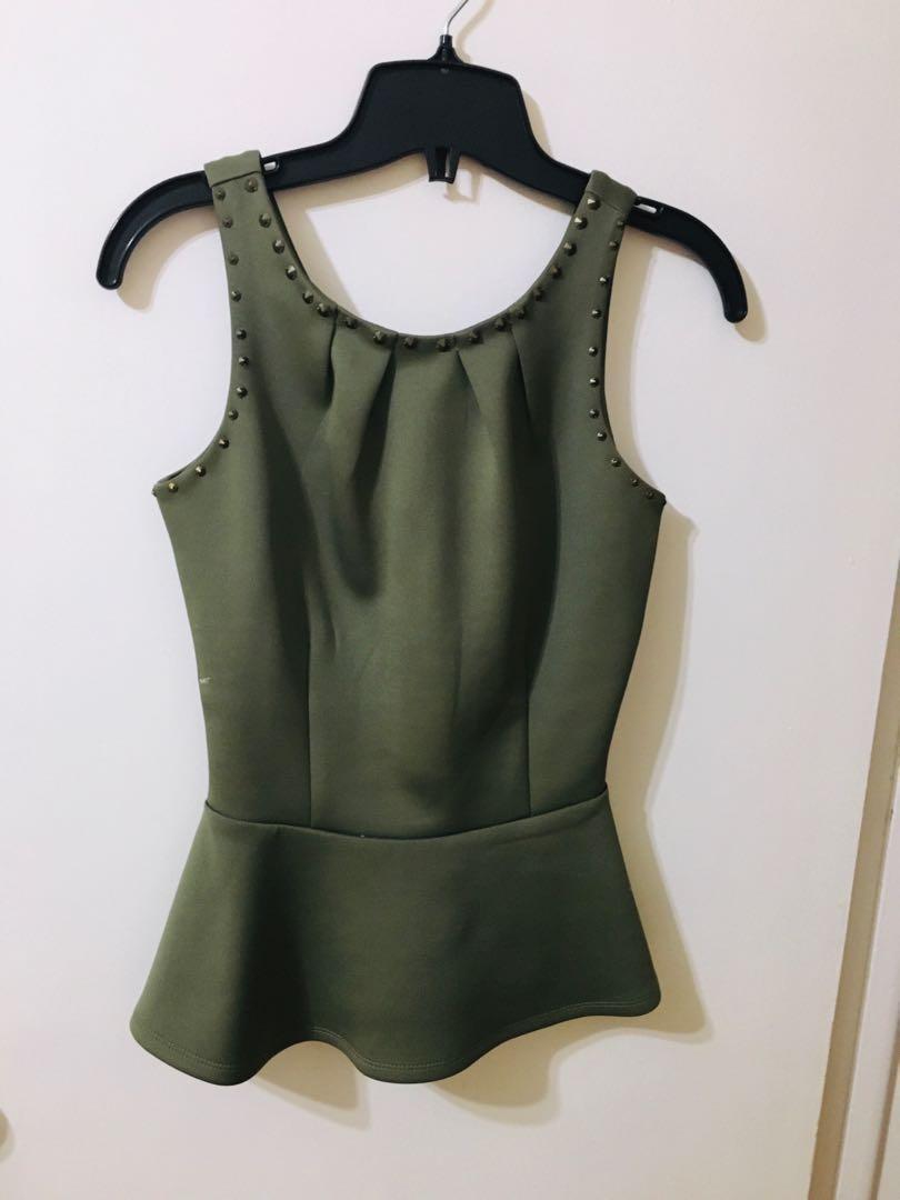 Peplum neoprene green top