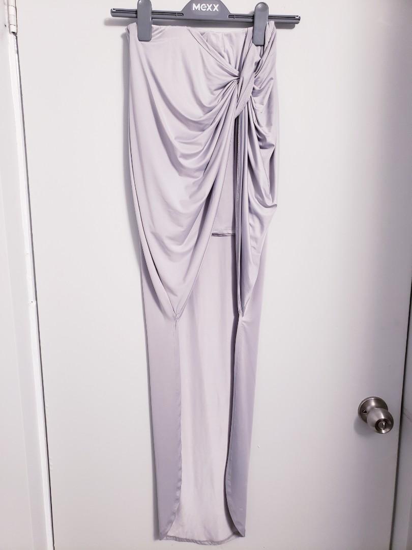 Sexy Matte Light Grey Silky Skirt (Size S/M)