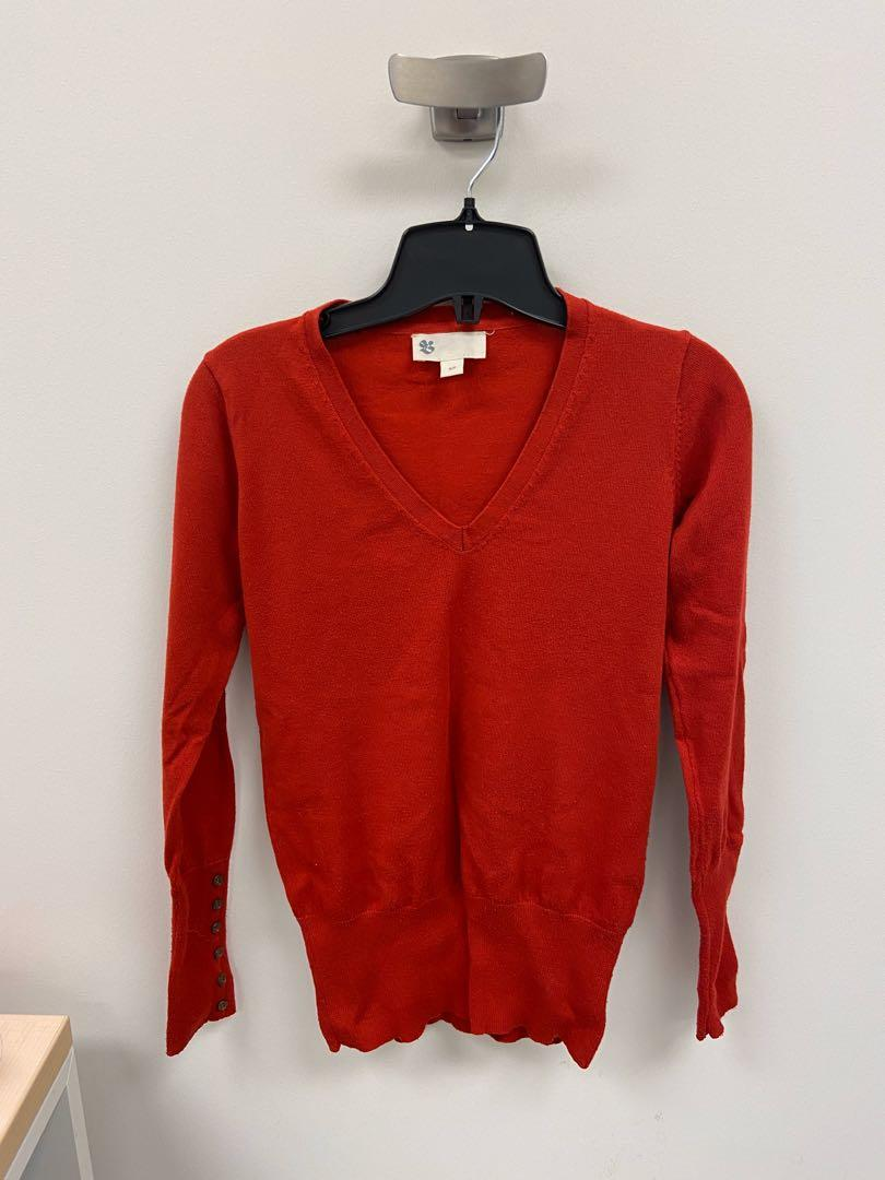 Vintage Bay red v neck sweater