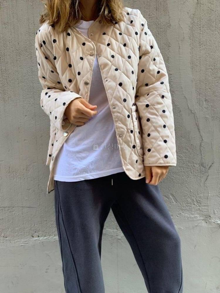 正韓外套  點點鋪棉外套
