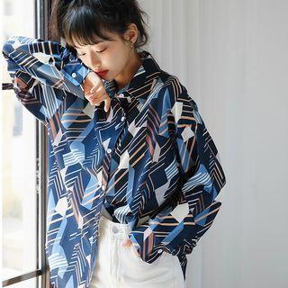 (全新) 特殊幾何圖案印花長袖襯衫 清新風格寬鬆顯瘦襯衫 #換季