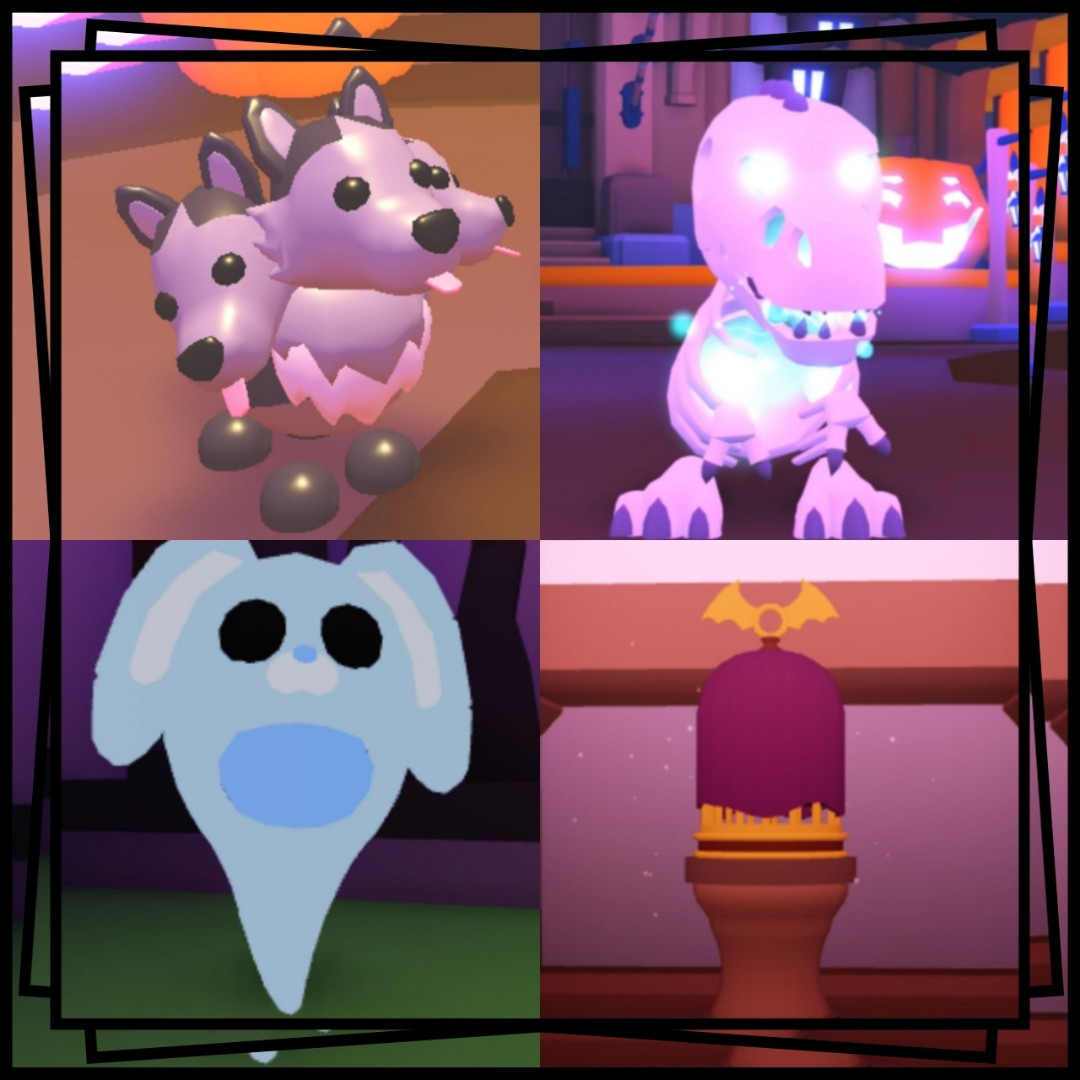 Halloween Skele Cerberus Bunny Bat Adopt Me Toys Games Video Gaming In Game Products On Carousell