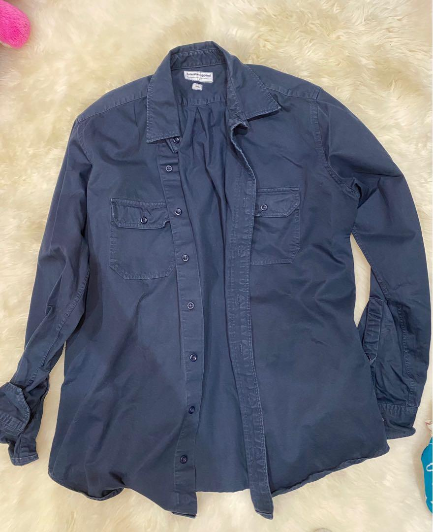 American apparel navy blue men's button up size large