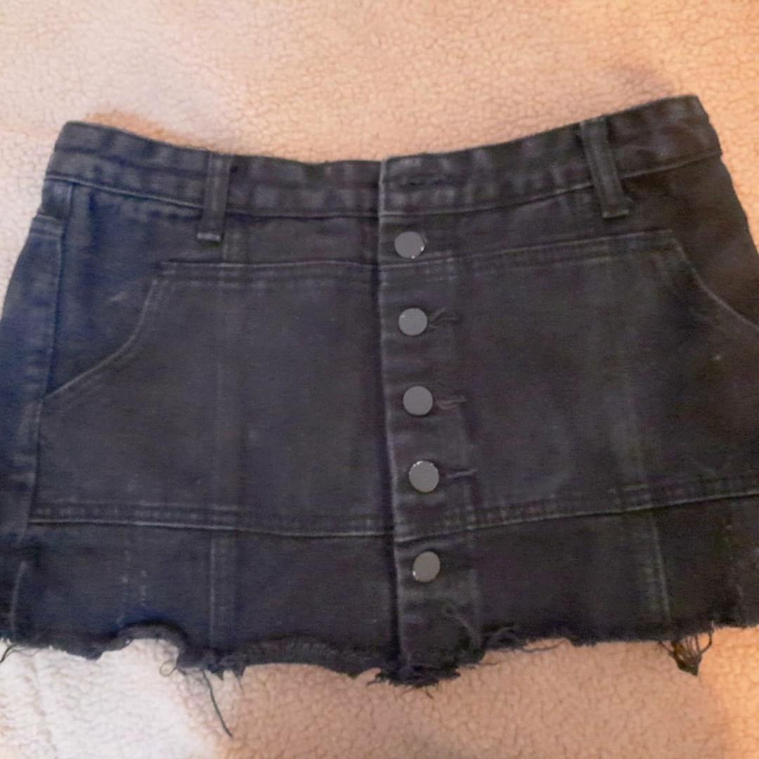 Black denim dress with pant inside(culottes)