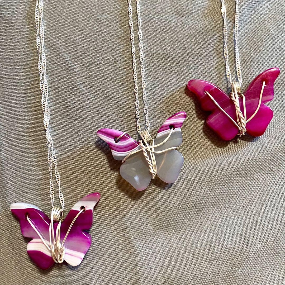 Crystal butterfly necklaces