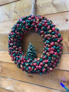 Handcrafted acorn and pine cone wreaths